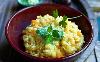 Risotto met pompoen en peterseliemascarpone