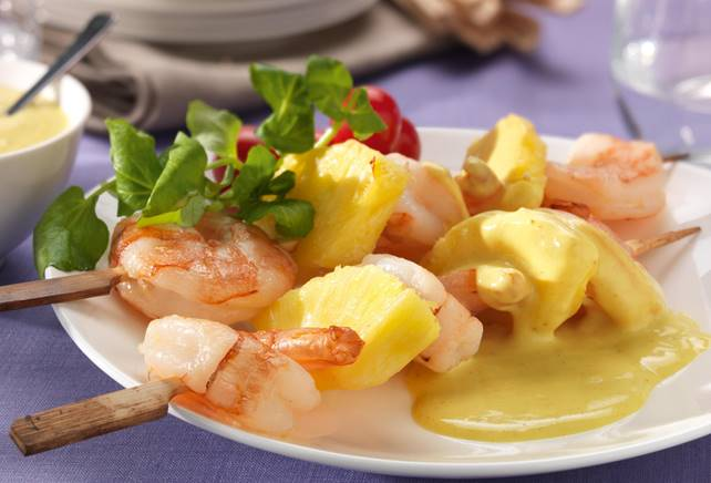 Scampi-brochette met ananas en curry
