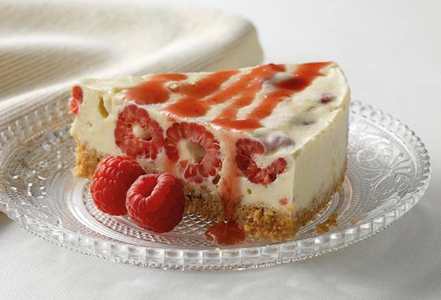 Meringue-cheesecake met frambozen